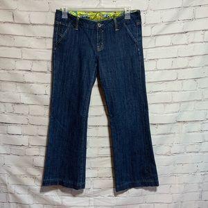 MissMe Floral Lined Wide Leg Jeans jp4480 size 31/waist 34